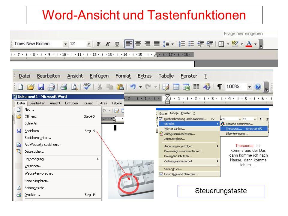 Word-Ansicht und Tastenfunktionen