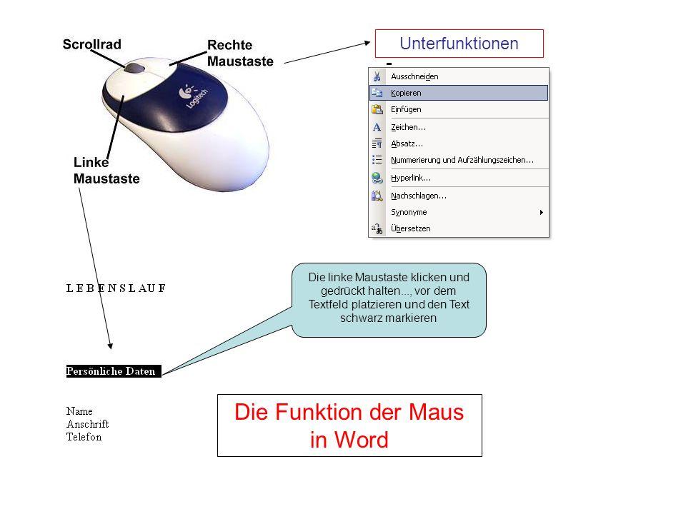 Die Funktion der Maus in Word