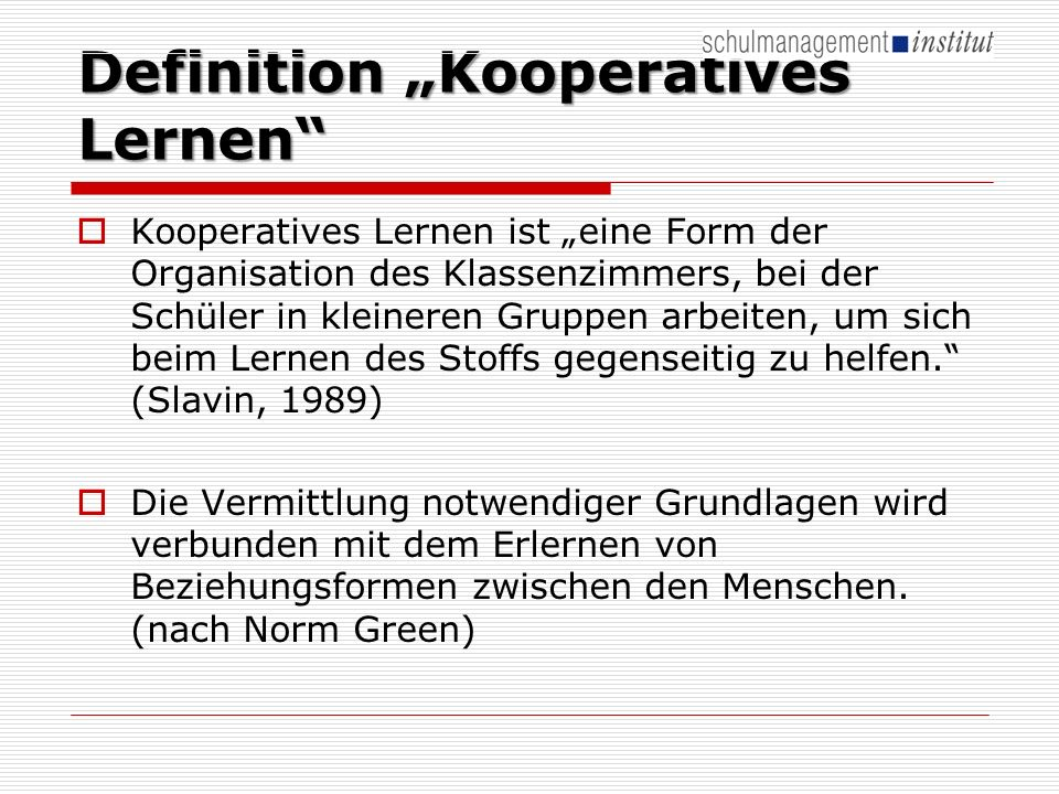 "Definition ""Kooperatives Lernen"