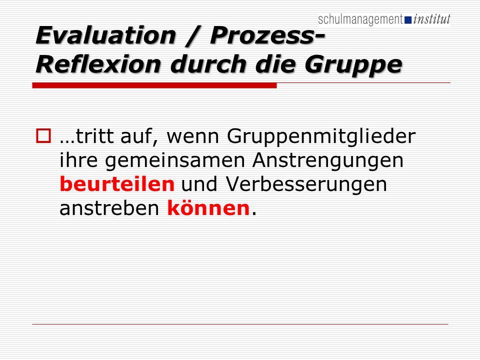 Evaluation / Prozess-Reflexion durch die Gruppe