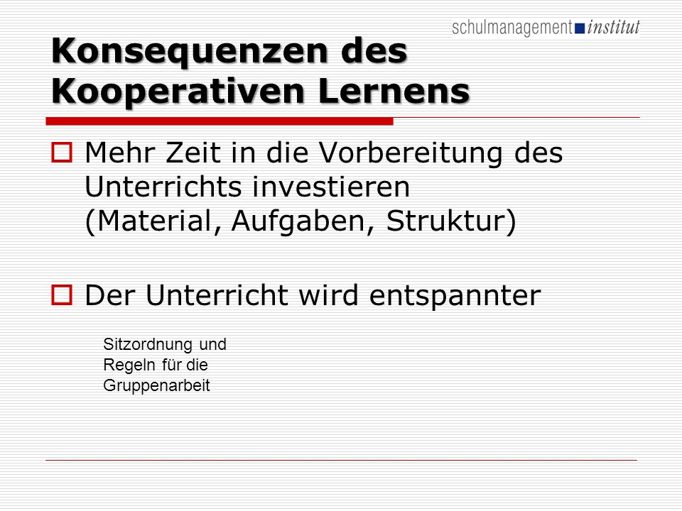 Konsequenzen des Kooperativen Lernens