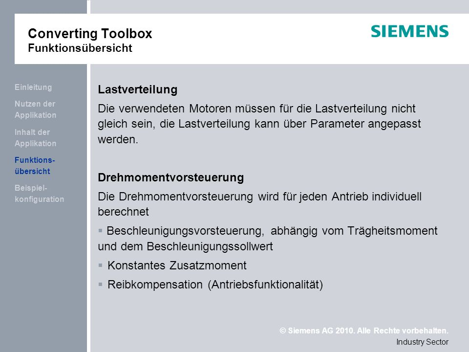 Converting Toolbox Funktionsübersicht