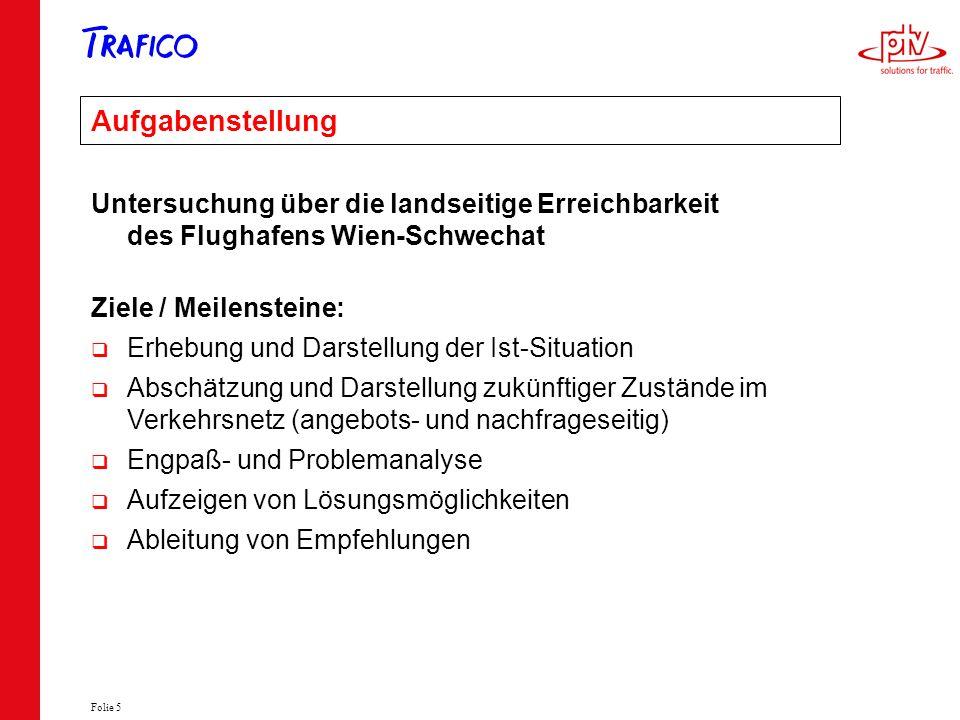 Aufgabenstellung Untersuchung über die landseitige Erreichbarkeit des Flughafens Wien-Schwechat. Ziele / Meilensteine: