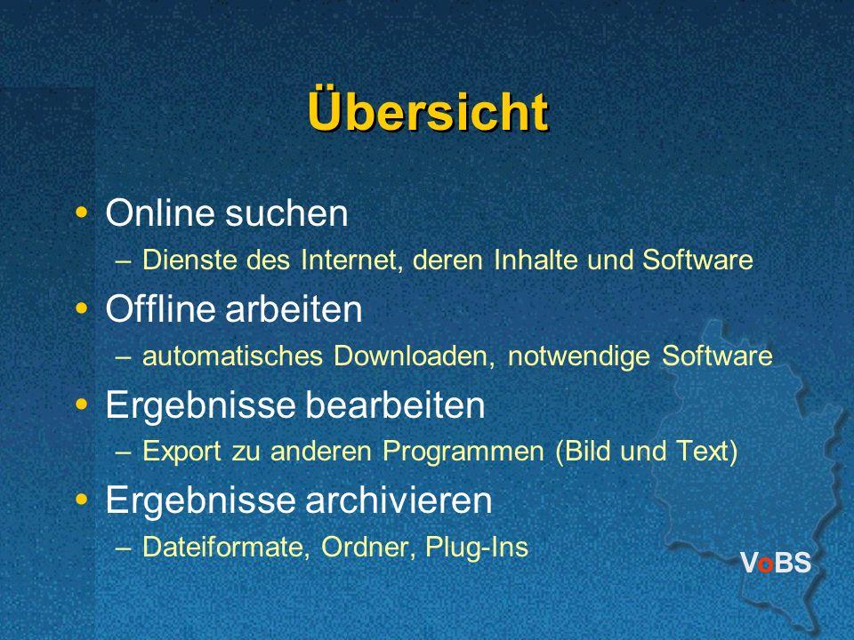 Übersicht Online suchen Offline arbeiten Ergebnisse bearbeiten