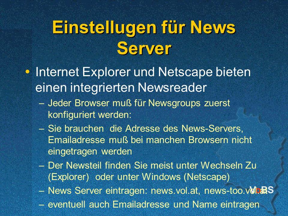 Einstellugen für News Server