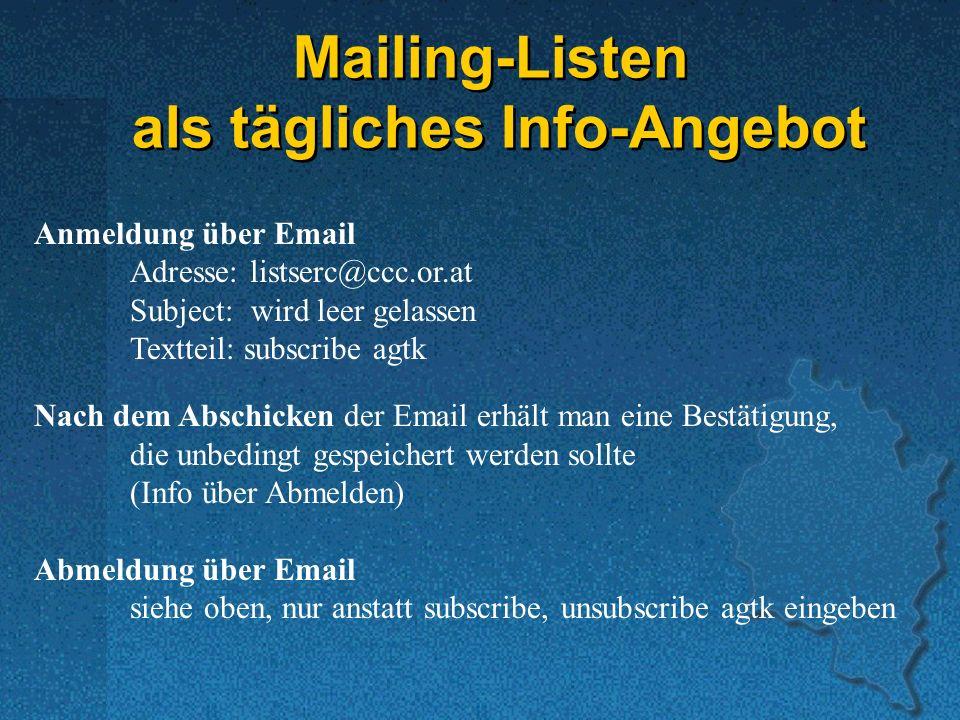 Mailing-Listen als tägliches Info-Angebot