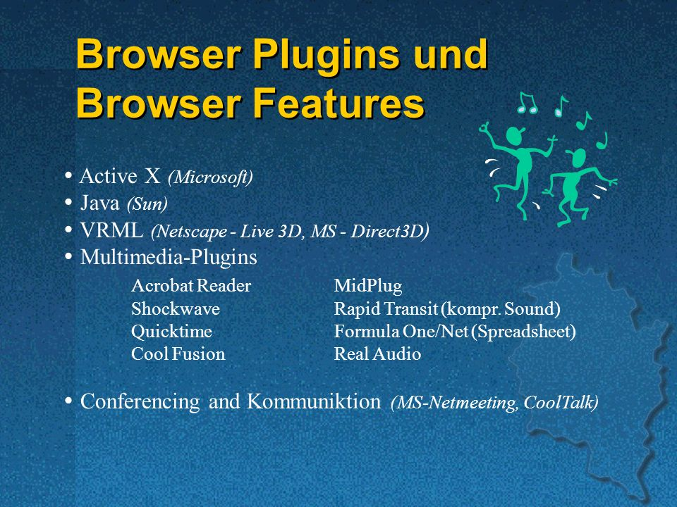 Browser Plugins und Browser Features Active X (Microsoft) Java (Sun)