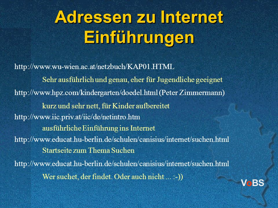 Adressen zu Internet Einführungen