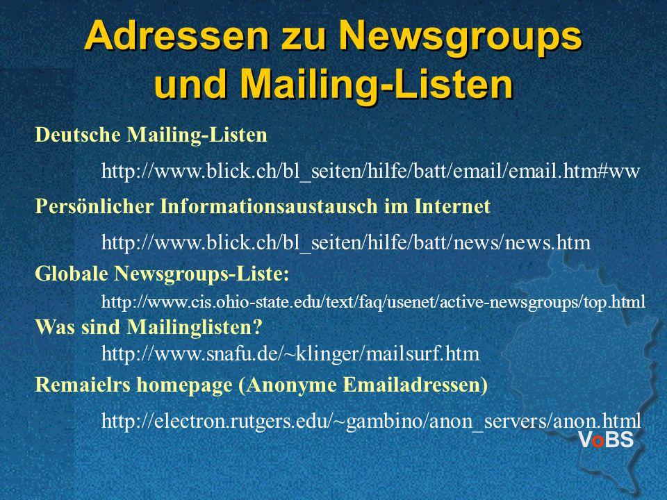 Adressen zu Newsgroups und Mailing-Listen
