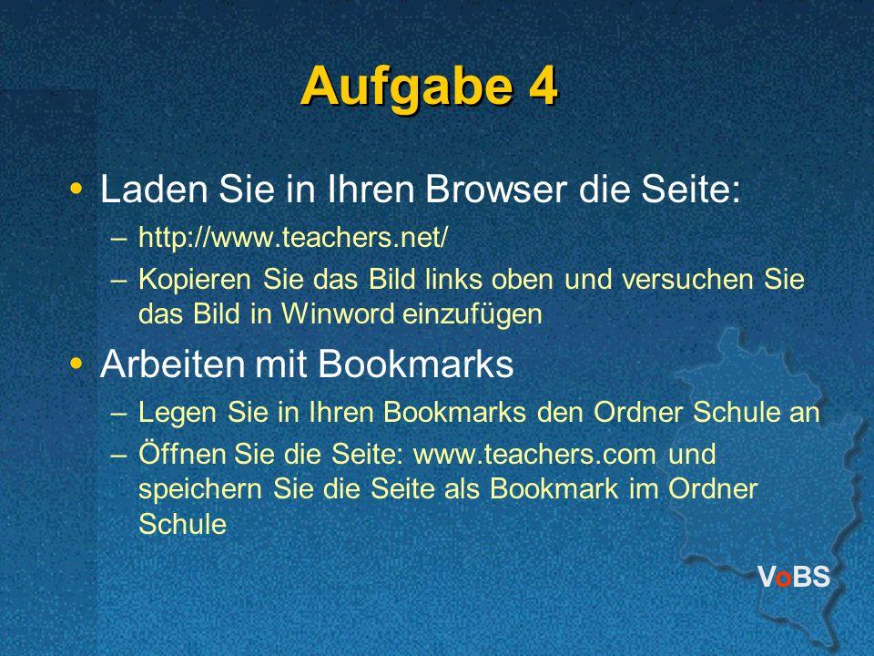 Aufgabe 4 Laden Sie in Ihren Browser die Seite: Arbeiten mit Bookmarks