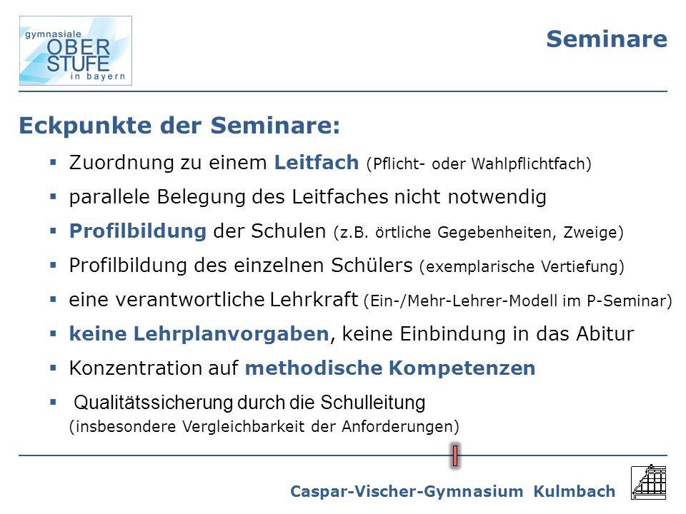 Eckpunkte der Seminare: