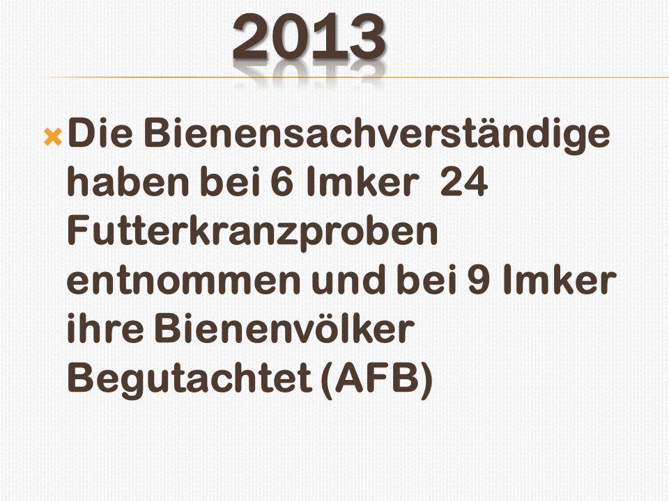 2013 Die Bienensachverständige haben bei 6 Imker 24 Futterkranzproben entnommen und bei 9 Imker ihre Bienenvölker Begutachtet (AFB)