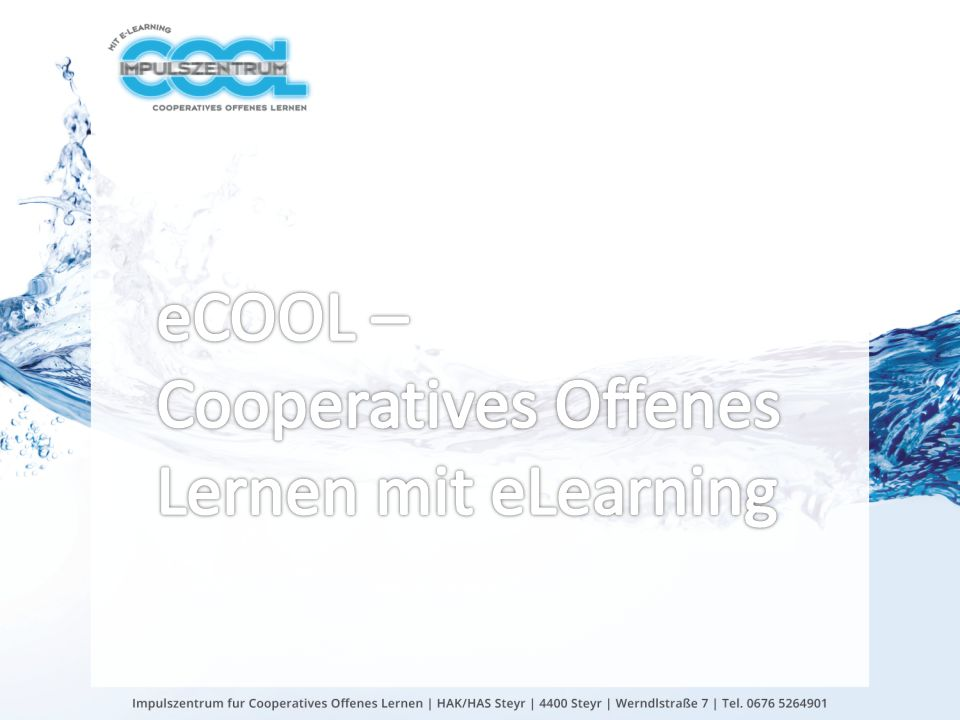 eCOOL – Cooperatives Offenes Lernen mit eLearning
