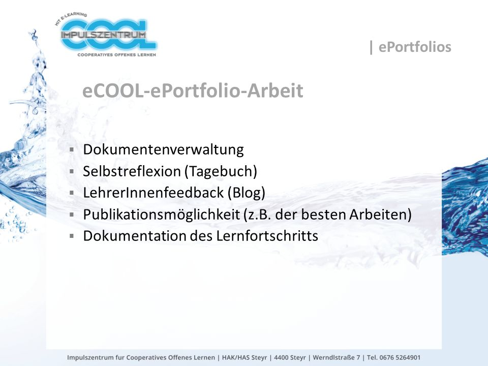 eCOOL-ePortfolio-Arbeit