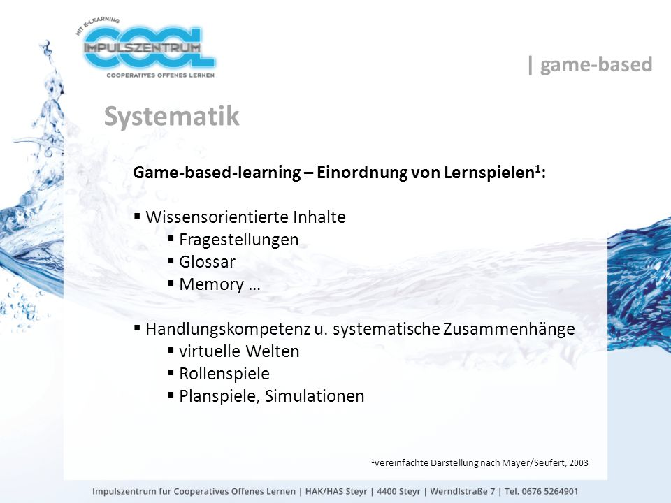 Systematik | game-based