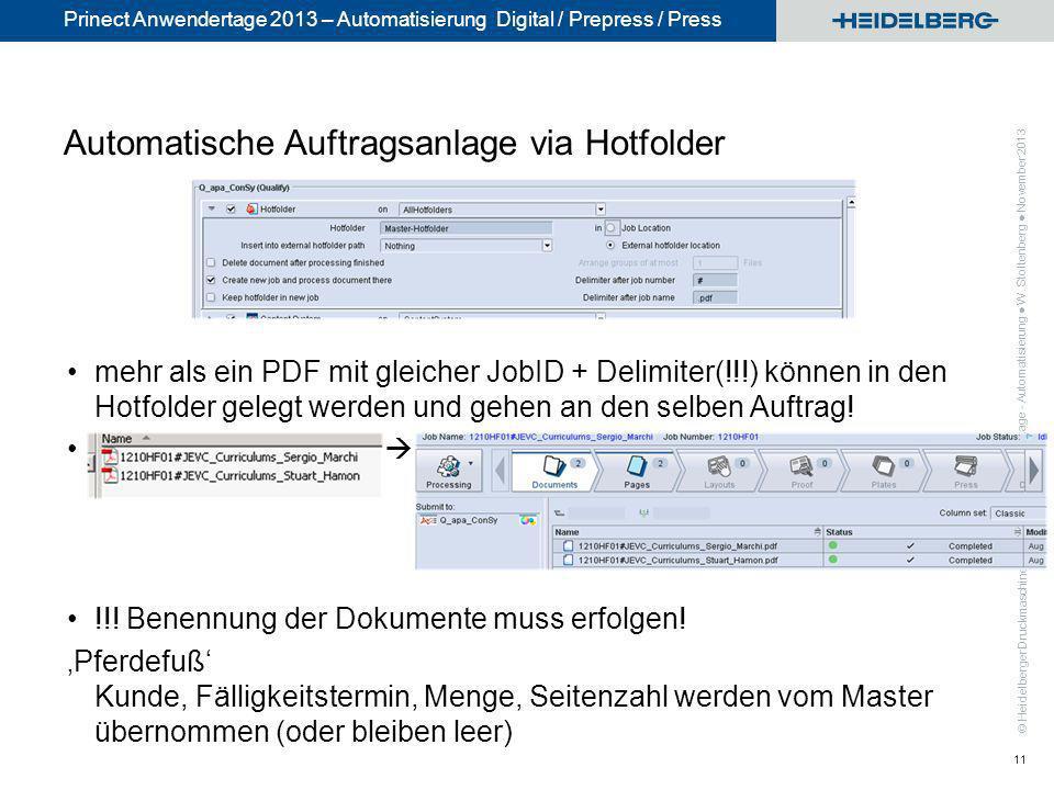Automatische Auftragsanlage via Hotfolder