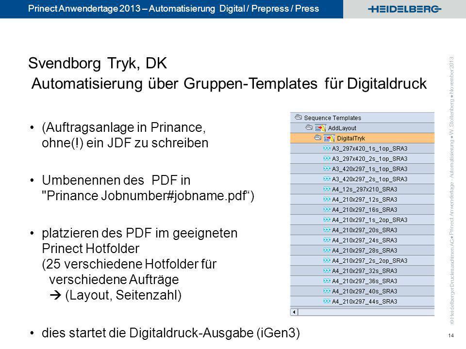 Svendborg Tryk, DK Automatisierung über Gruppen-Templates für Digitaldruck