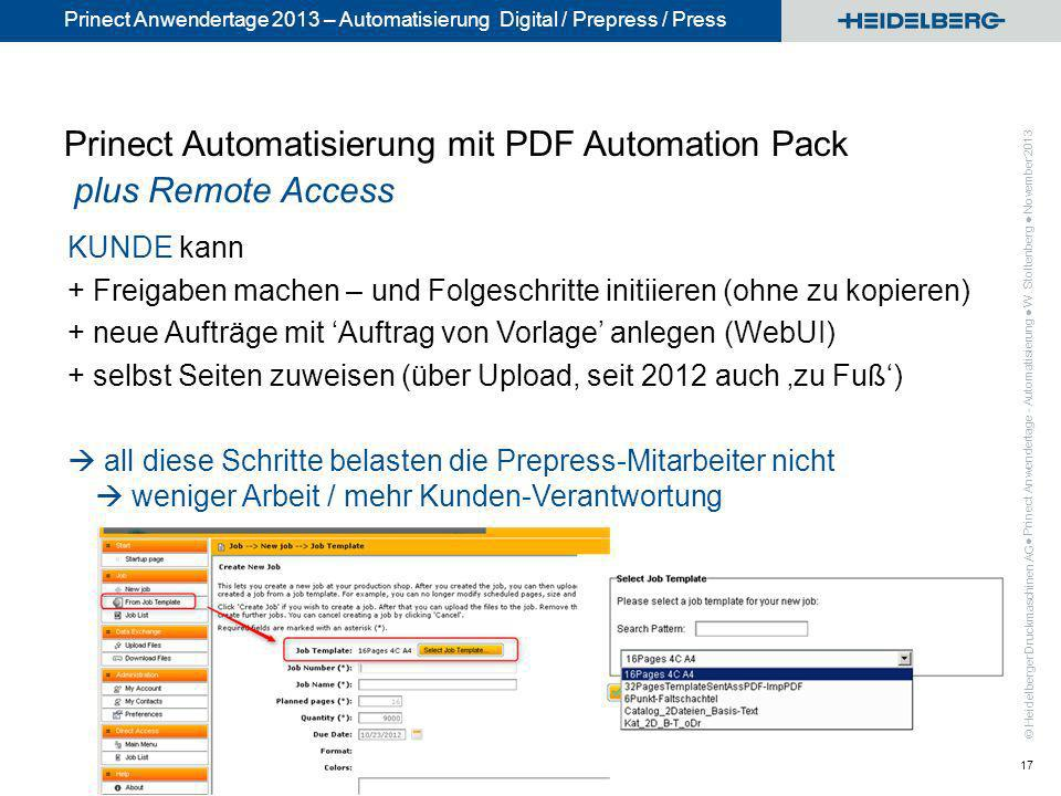 Prinect Automatisierung mit PDF Automation Pack plus Remote Access