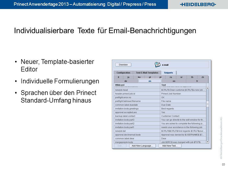 Individualisierbare Texte für Email-Benachrichtigungen