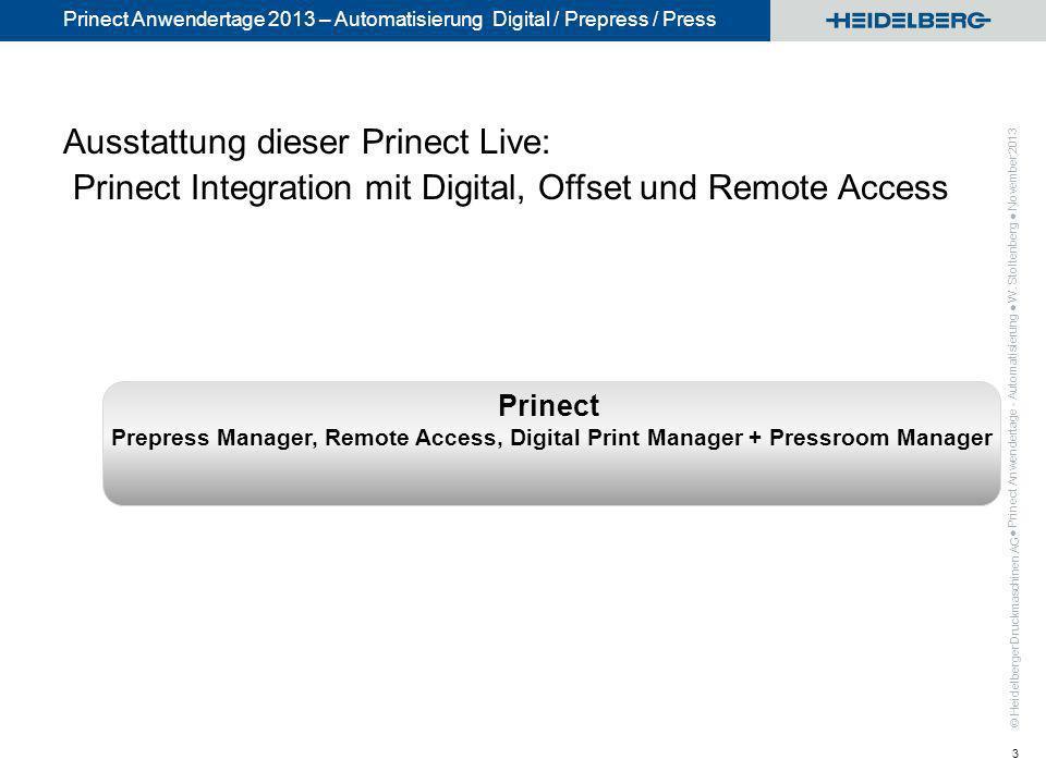 Ausstattung dieser Prinect Live: Prinect Integration mit Digital, Offset und Remote Access
