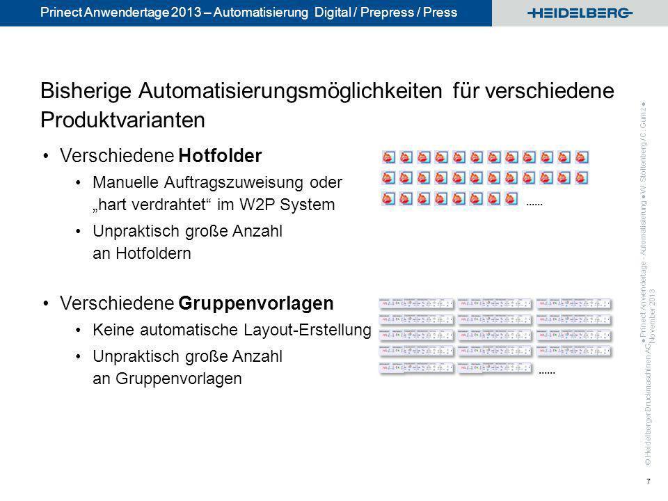 Bisherige Automatisierungsmöglichkeiten für verschiedene Produktvarianten