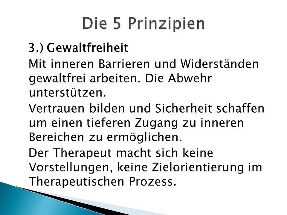 Die 5 Prinzipien 3.) Gewaltfreiheit. Mit inneren Barrieren und Widerständen gewaltfrei arbeiten. Die Abwehr unterstützen.