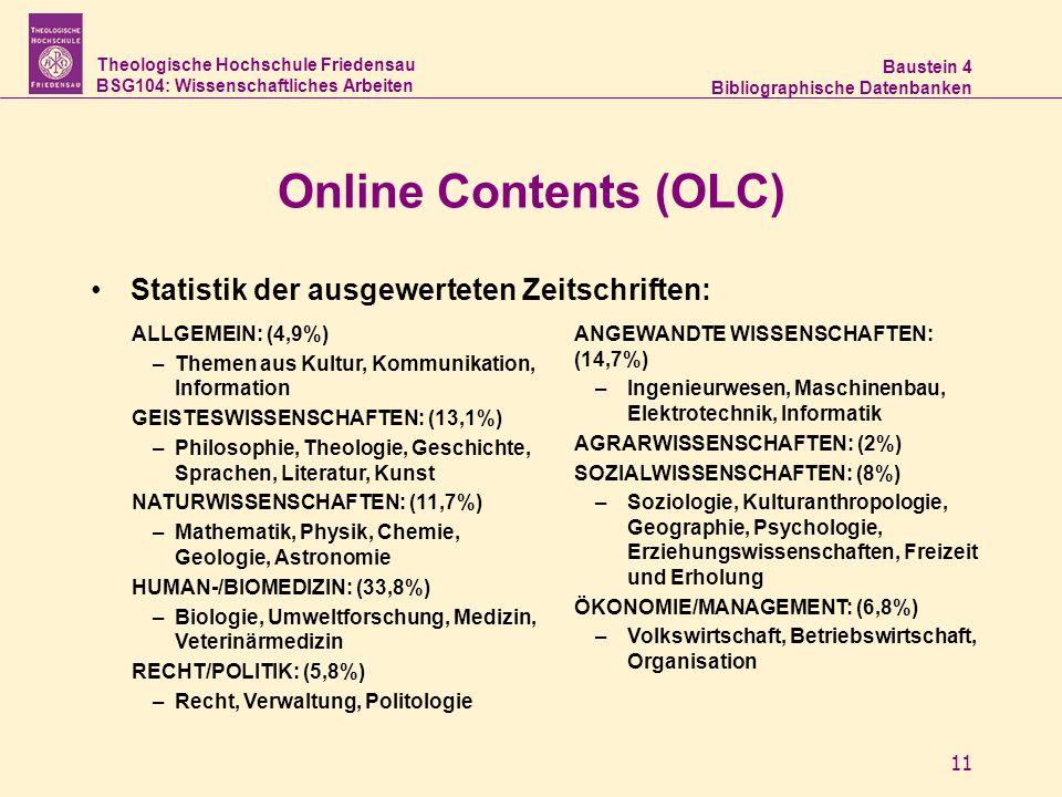 Online Contents (OLC) Statistik der ausgewerteten Zeitschriften: