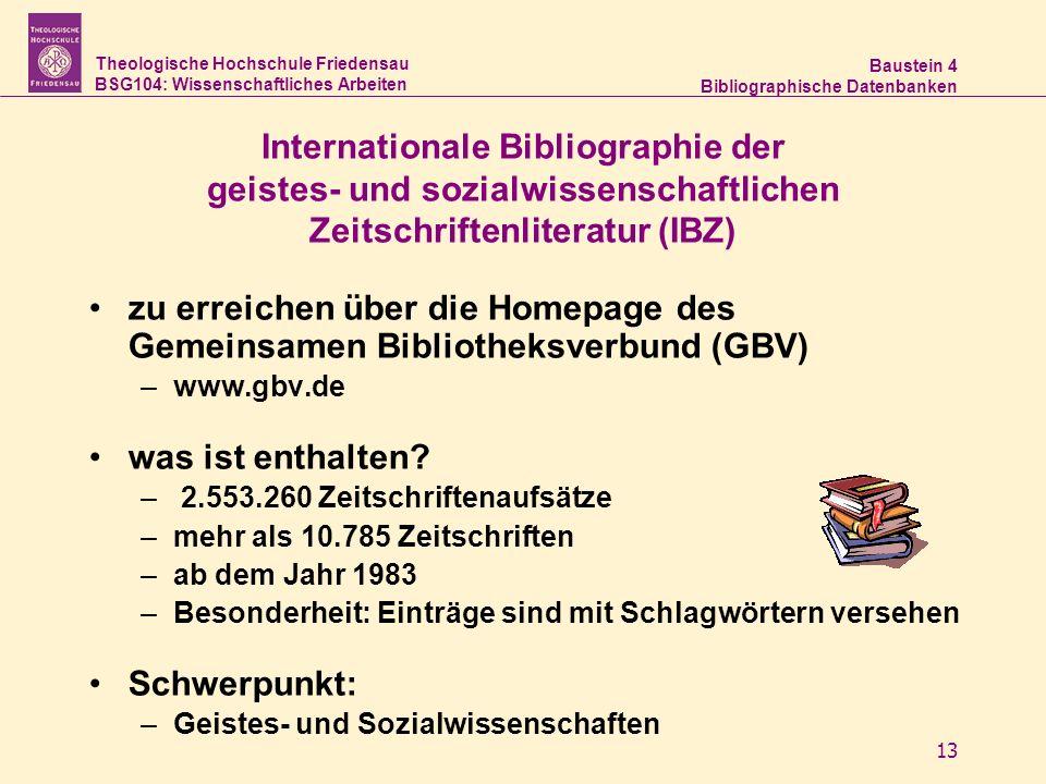 Internationale Bibliographie der geistes- und sozialwissenschaftlichen Zeitschriftenliteratur (IBZ)