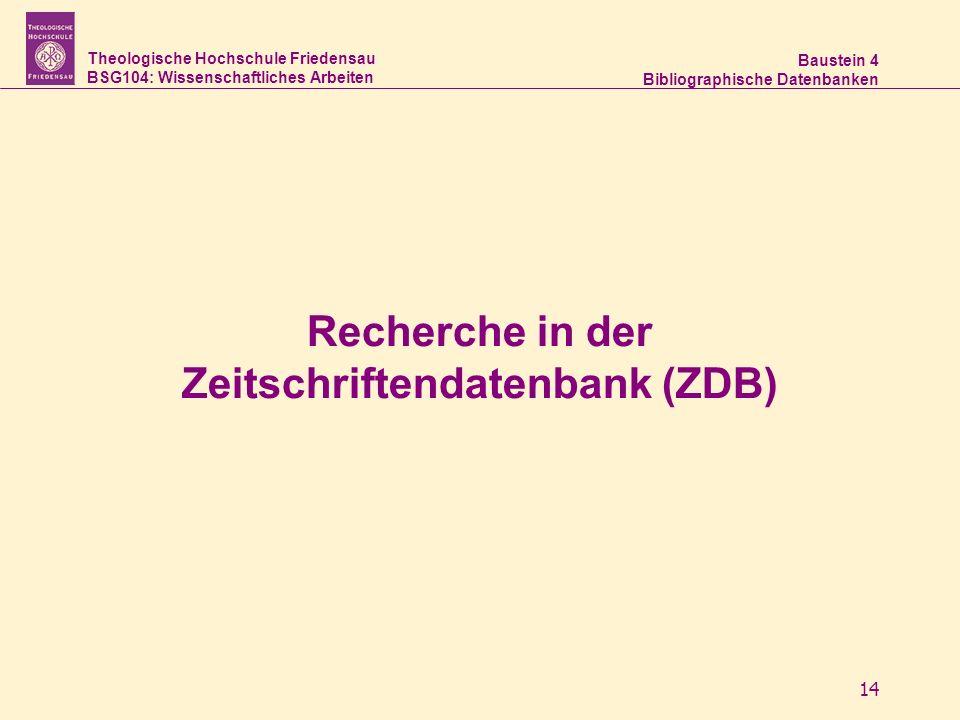 Recherche in der Zeitschriftendatenbank (ZDB)
