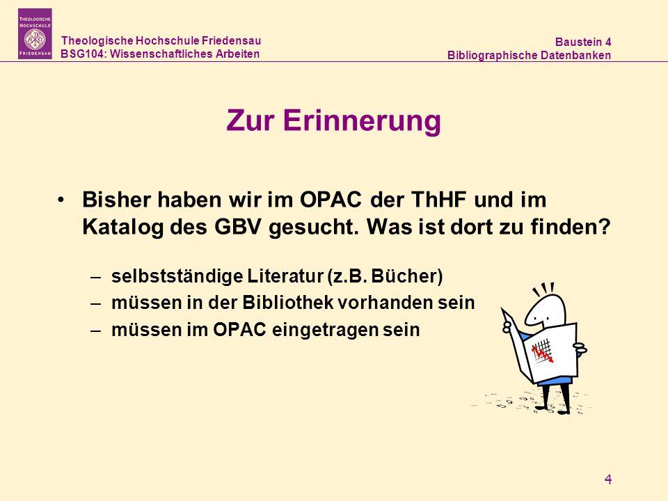 Zur Erinnerung Bisher haben wir im OPAC der ThHF und im Katalog des GBV gesucht. Was ist dort zu finden