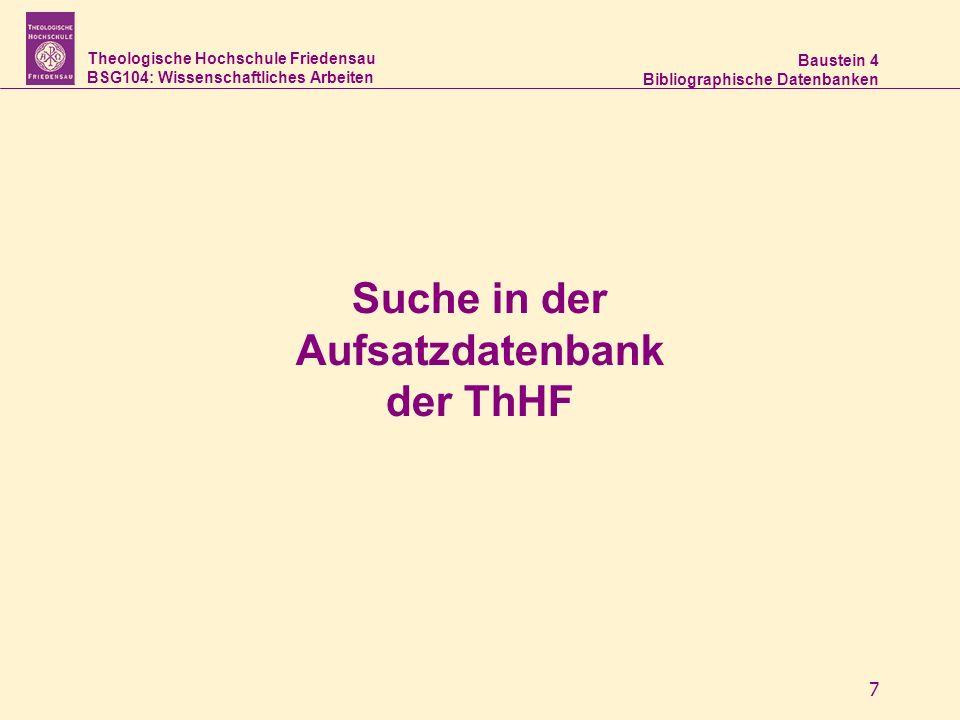 Suche in der Aufsatzdatenbank der ThHF