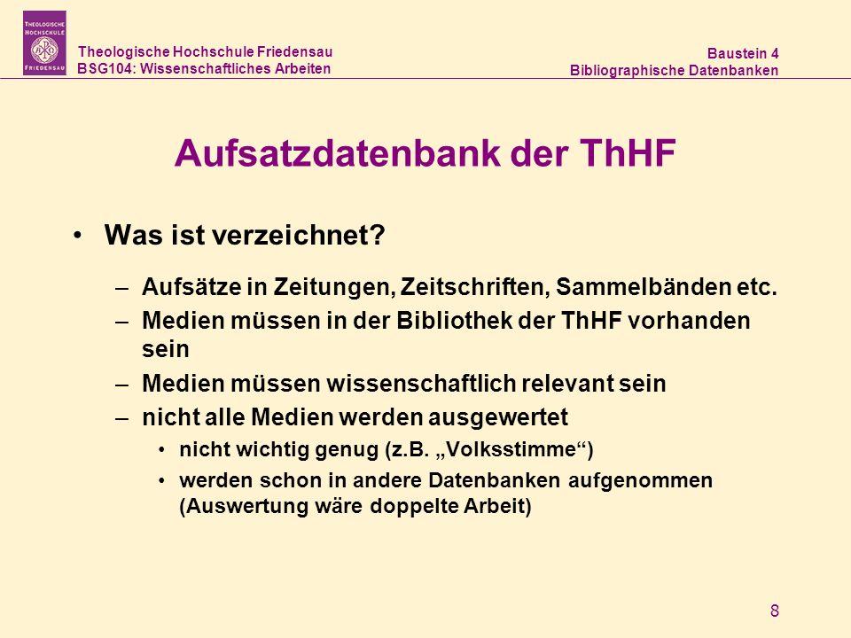 Aufsatzdatenbank der ThHF