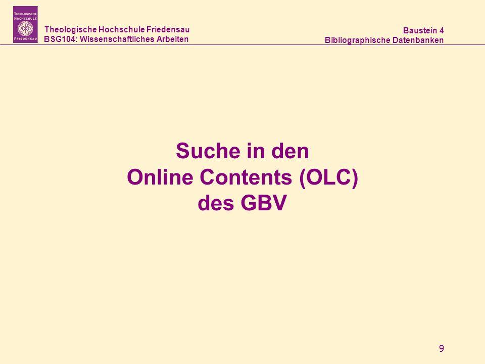 Suche in den Online Contents (OLC) des GBV