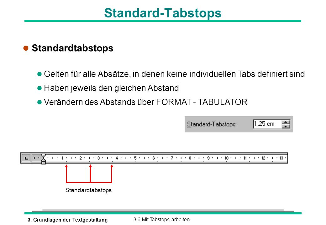 Standard-Tabstops Standardtabstops