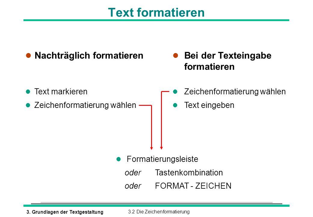 Text formatieren Nachträglich formatieren