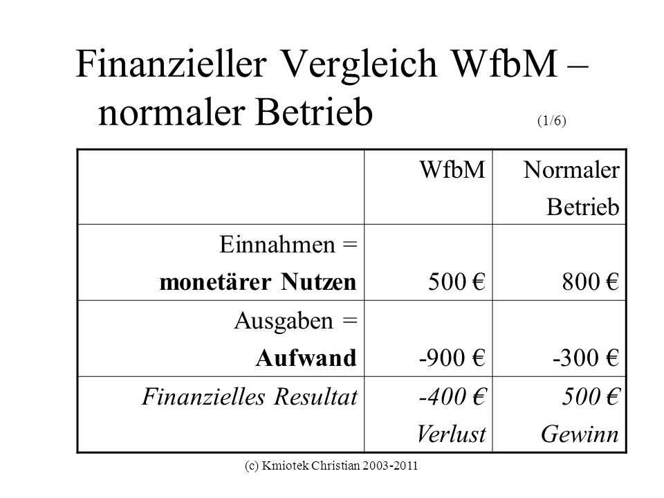 Finanzieller Vergleich WfbM – normaler Betrieb (1/6)