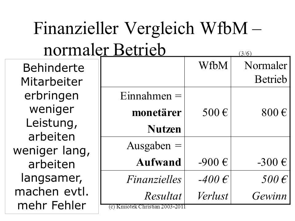 Finanzieller Vergleich WfbM – normaler Betrieb (3/6)