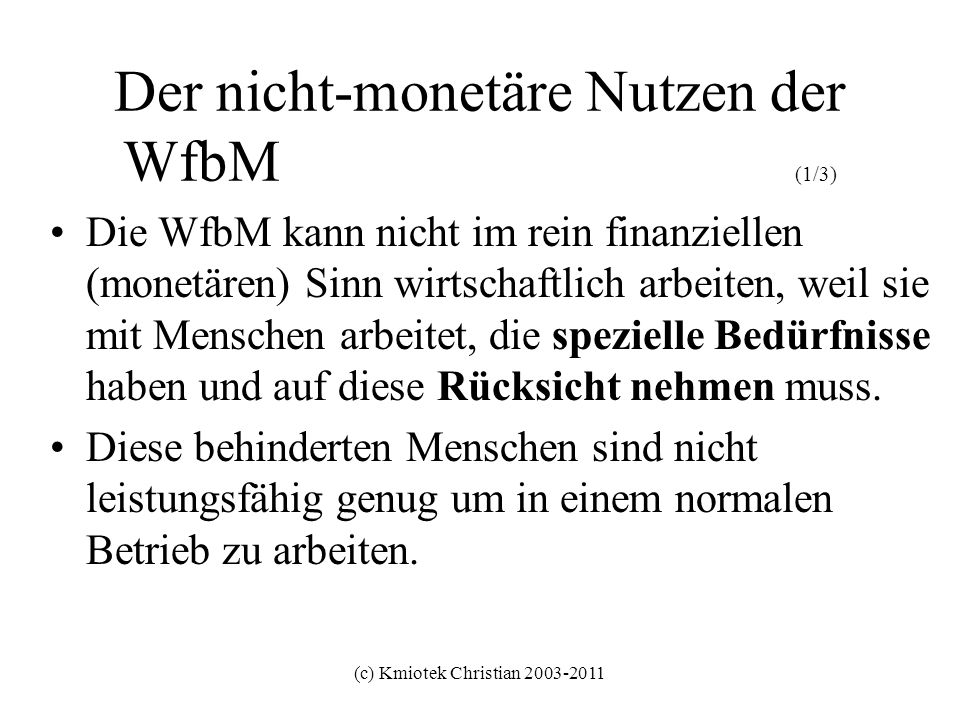 Der nicht-monetäre Nutzen der WfbM (1/3)