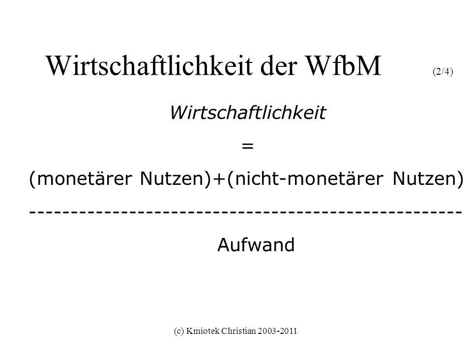 Wirtschaftlichkeit der WfbM (2/4)