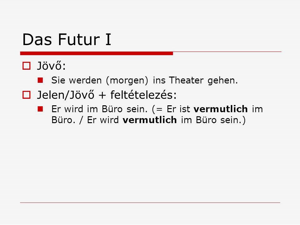 Das Futur I Jövő: Jelen/Jövő + feltételezés: