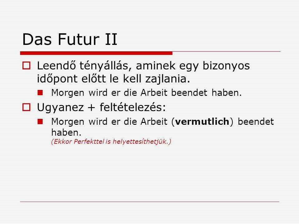 Das Futur II Leendő tényállás, aminek egy bizonyos időpont előtt le kell zajlania. Morgen wird er die Arbeit beendet haben.