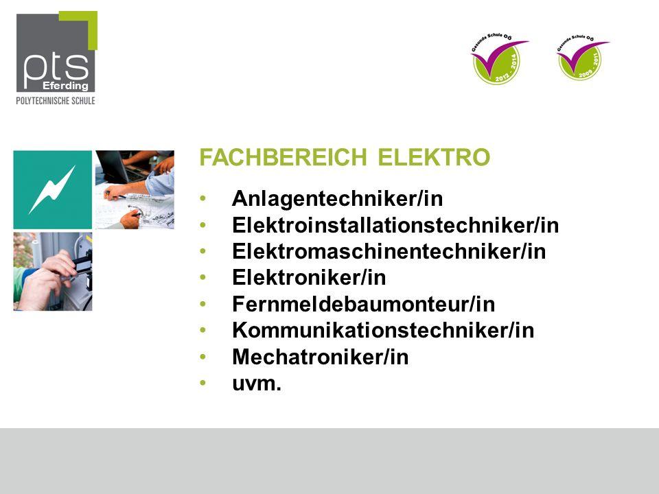 FACHBEREICH ELEKTRO Anlagentechniker/in
