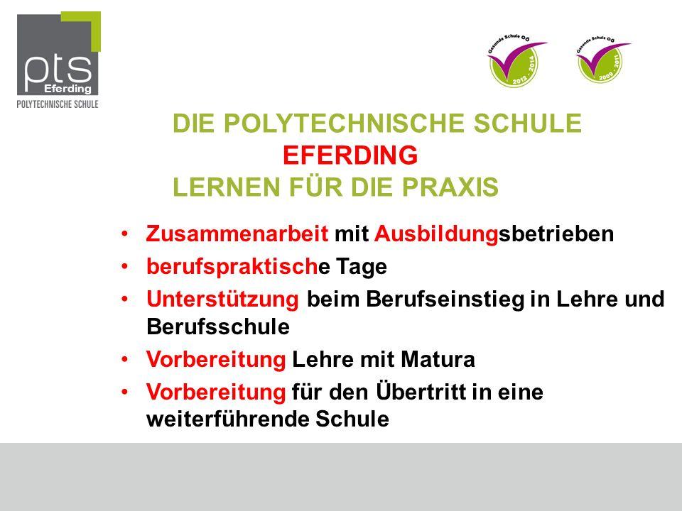 DIE POLYTECHNISCHE SCHULE EFERDING LERNEN FÜR DIE PRAXIS