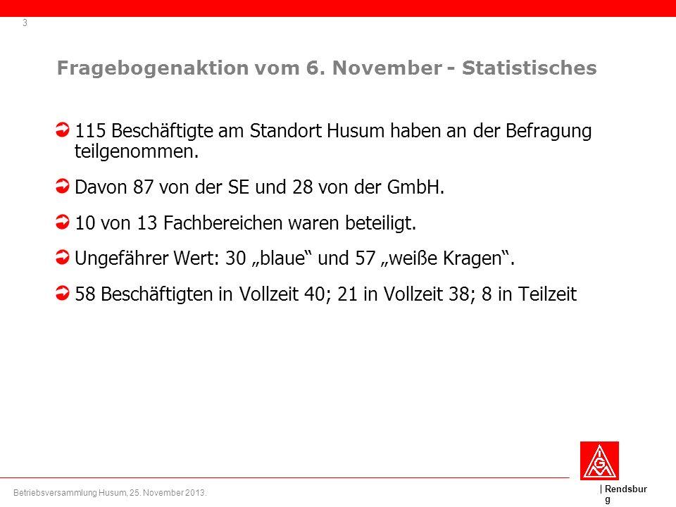 Fragebogenaktion vom 6. November - Statistisches