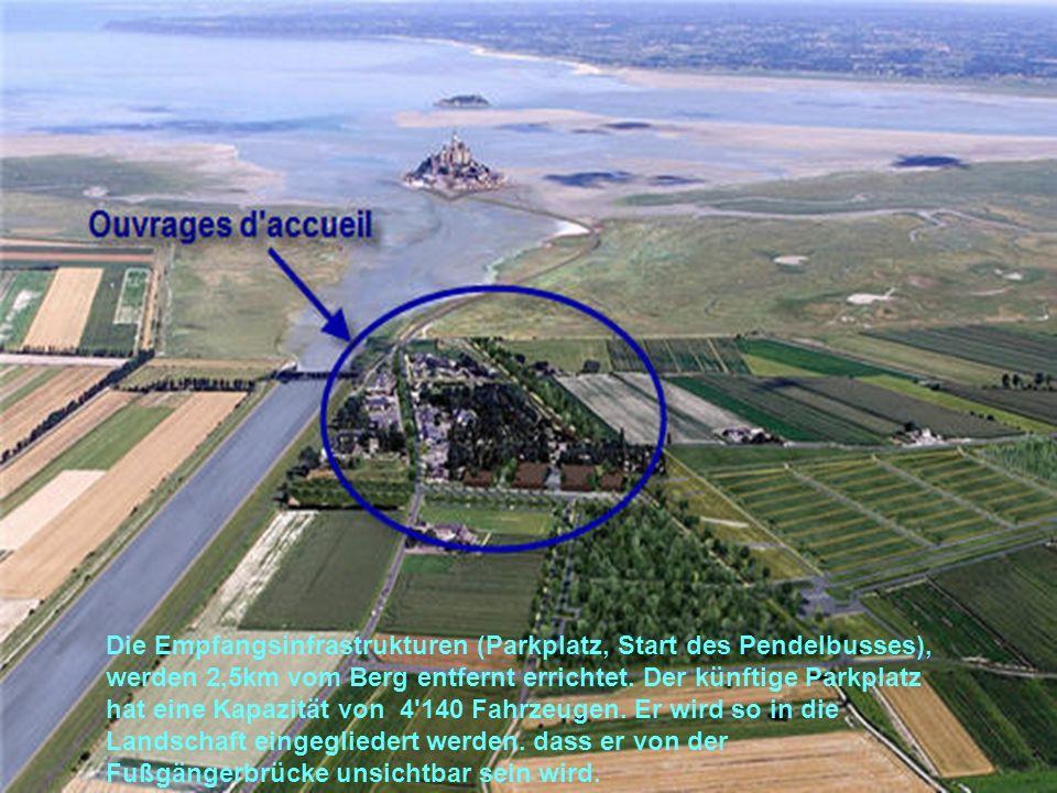 Die Empfangsinfrastrukturen (Parkplatz, Start des Pendelbusses), werden 2,5km vom Berg entfernt errichtet.