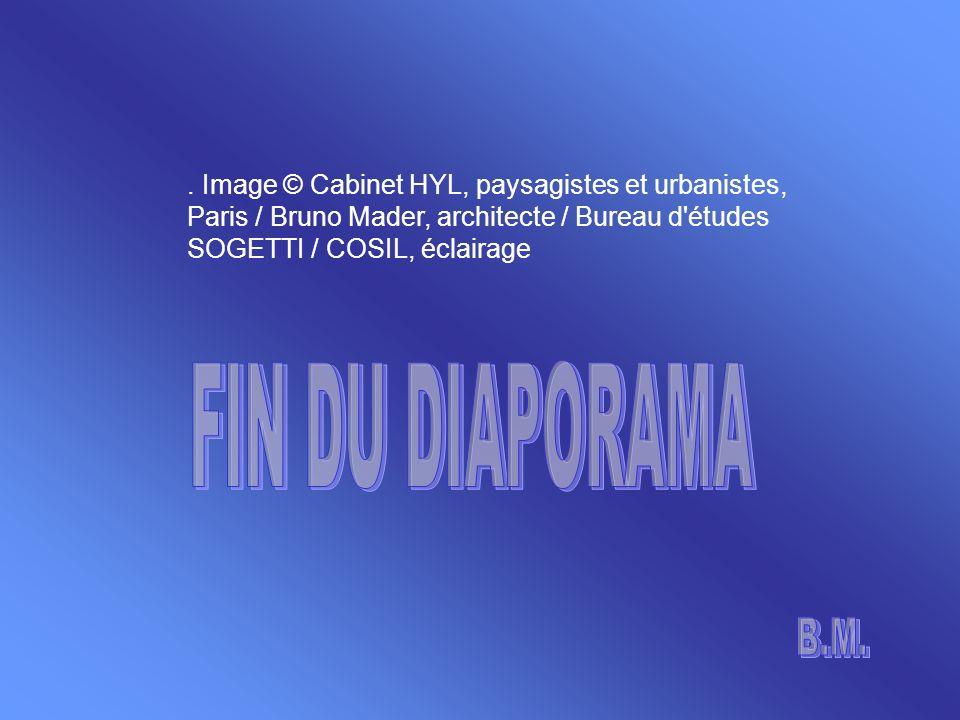 . Image © Cabinet HYL, paysagistes et urbanistes, Paris / Bruno Mader, architecte / Bureau d études SOGETTI / COSIL, éclairage