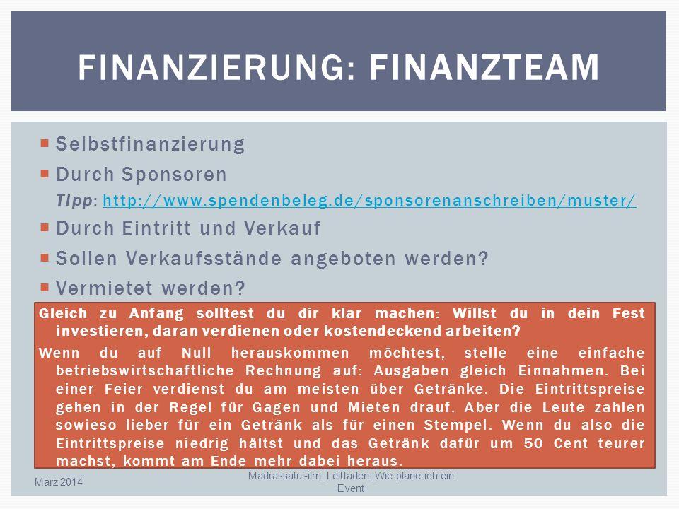 Finanzierung: Finanzteam