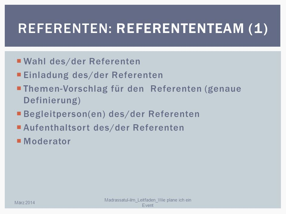 Referenten: Referententeam (1)