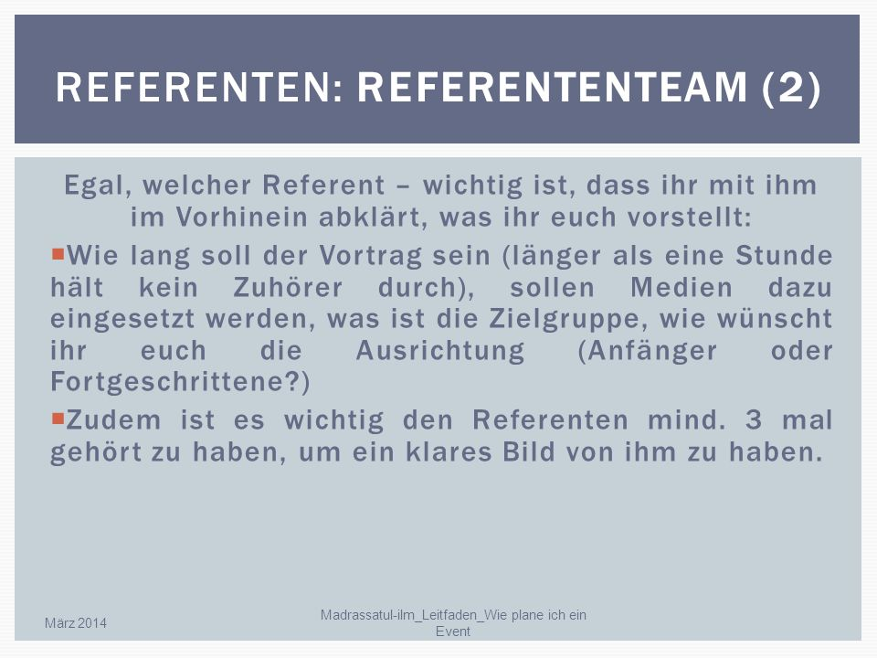Referenten: Referententeam (2)