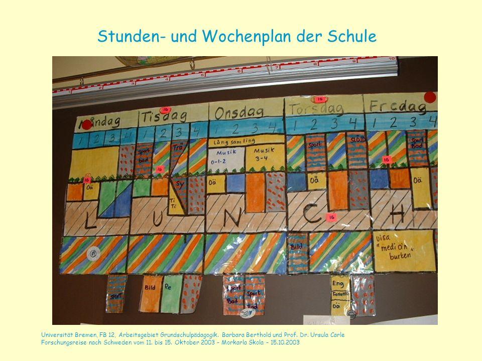 Stunden- und Wochenplan der Schule
